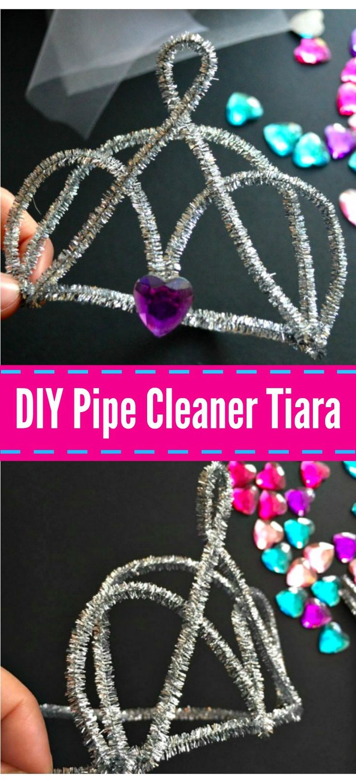 DIY Pipe Cleaner Tiara - These DIY pipe cleaner tiara's are perfect as a photo prop, playing dress up, costumes, or even a fun DIY for birthday parties!