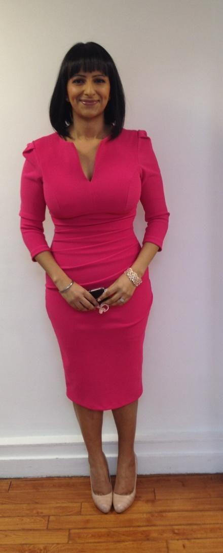 Ranvir wearing the 3/4 Lydia dress in Rose Pink on Good Morning Britain #lydiadress #dress #fashion #itv #gmb #divacurves #divacatwalk