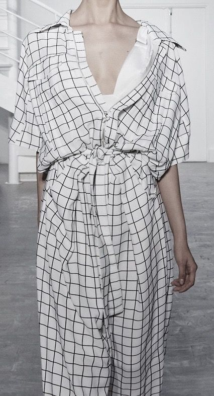 Grid print jumpsuit; contemporary fashion details // Off-White Spring 2016