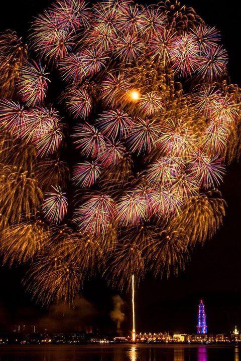 Fireworks in Huis Ten Bosch Park Sasebo Nagasaki Japan