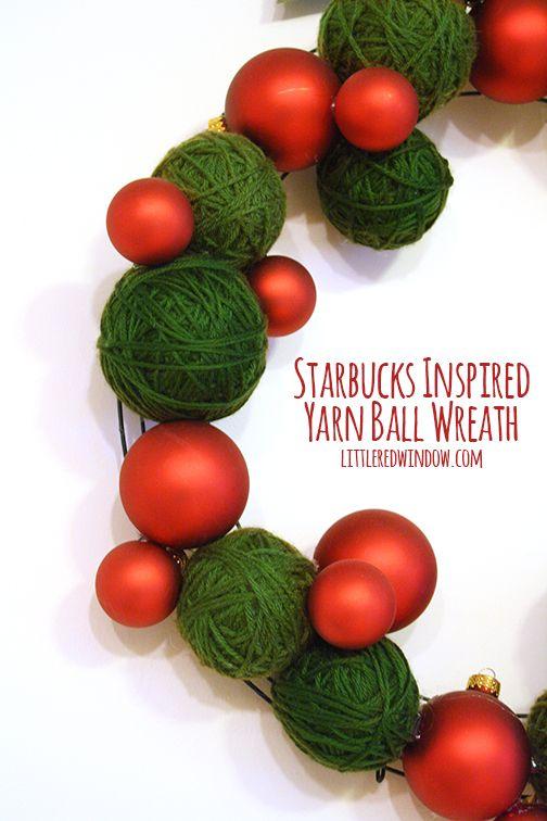 Starbucks Inspired Yarn Ball Wreath   littleredwindow.com  Beautiful and easy DIY Christmas Wreath