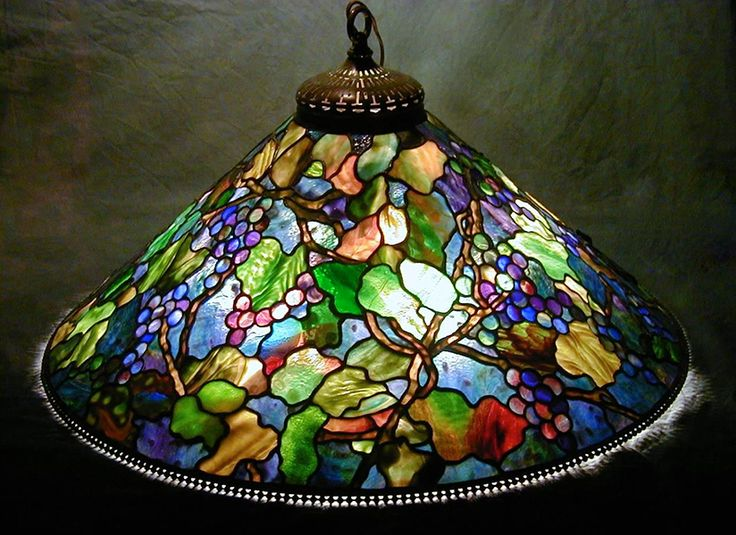 """Exquisite Multi-Coloured Grape 28"""" Lamp ~Century Studios~ Makers Of Exquisite Reproduction Tiffany Lamps And Fine Stained Glass In Our Minnesota Studios Since 1986"""