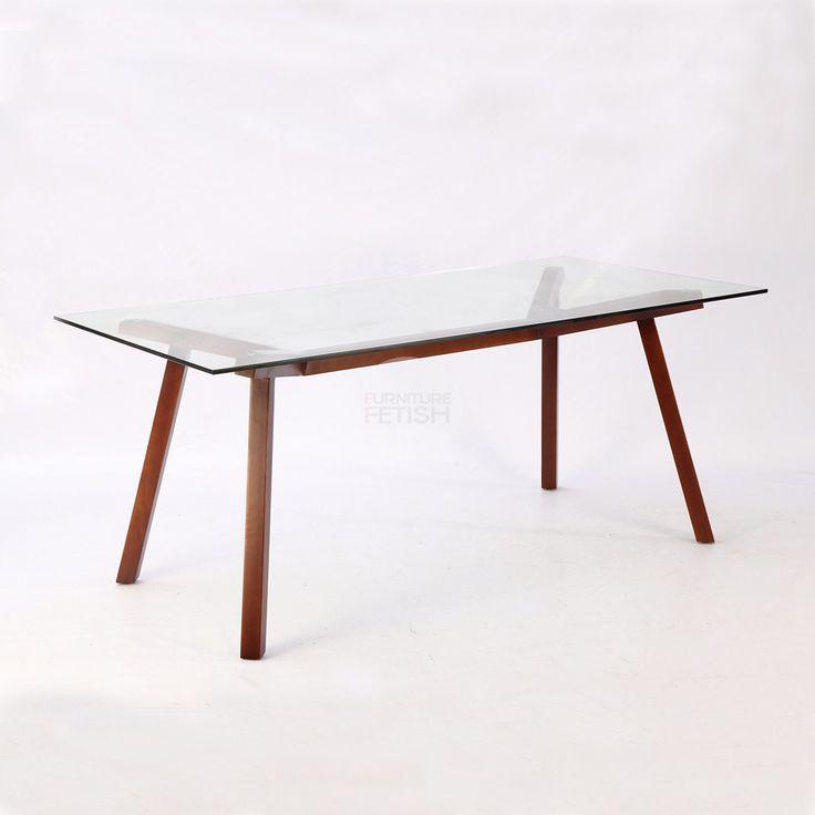 Replica Sean Dix Forte Dining Table Walnut - 180cm Glass top