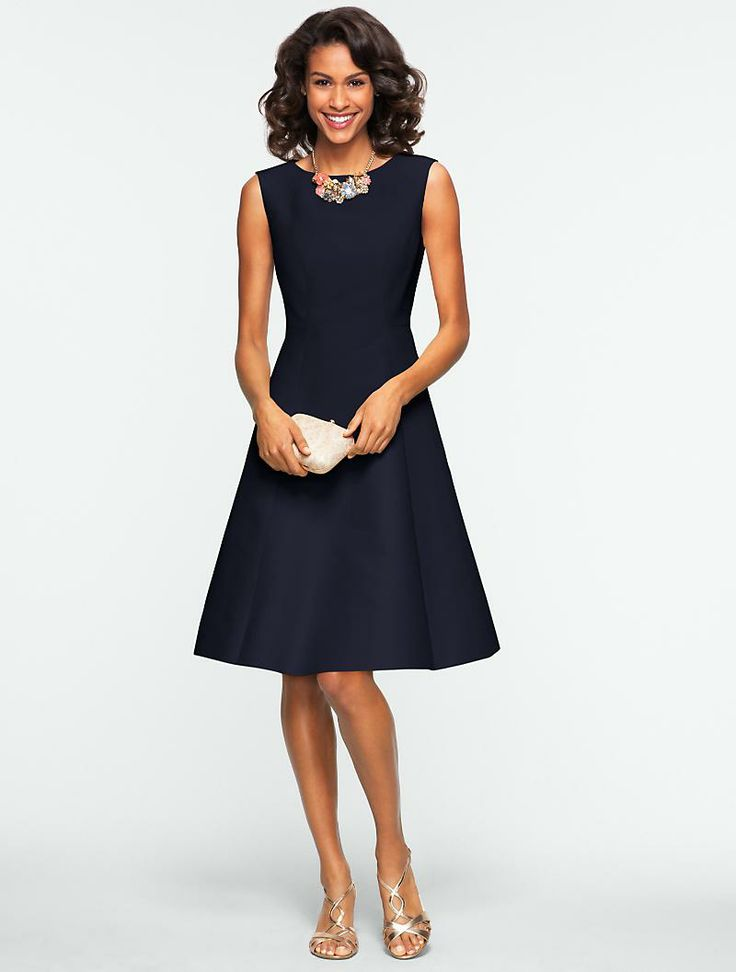Talbots - This navy fit and flare dress is a chic alternative to your LBD.