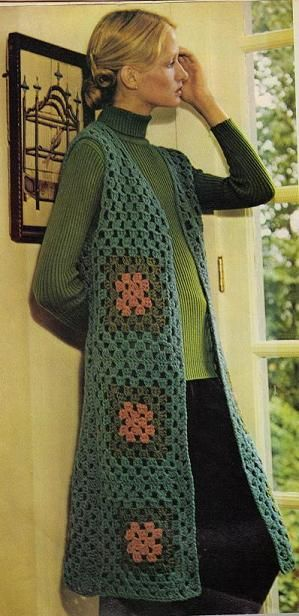 ReTRo ALerT ~ Granny Square Chic Long Vest: free crochet pattern