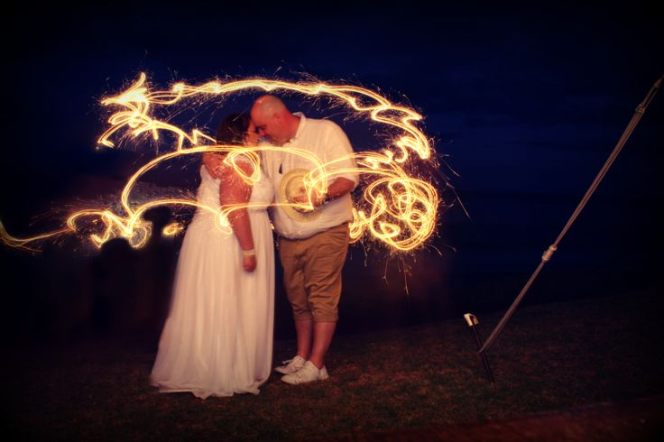 Plus size beach wedding sparklers