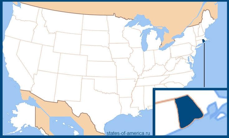 Штат Род-Айленд на карте США