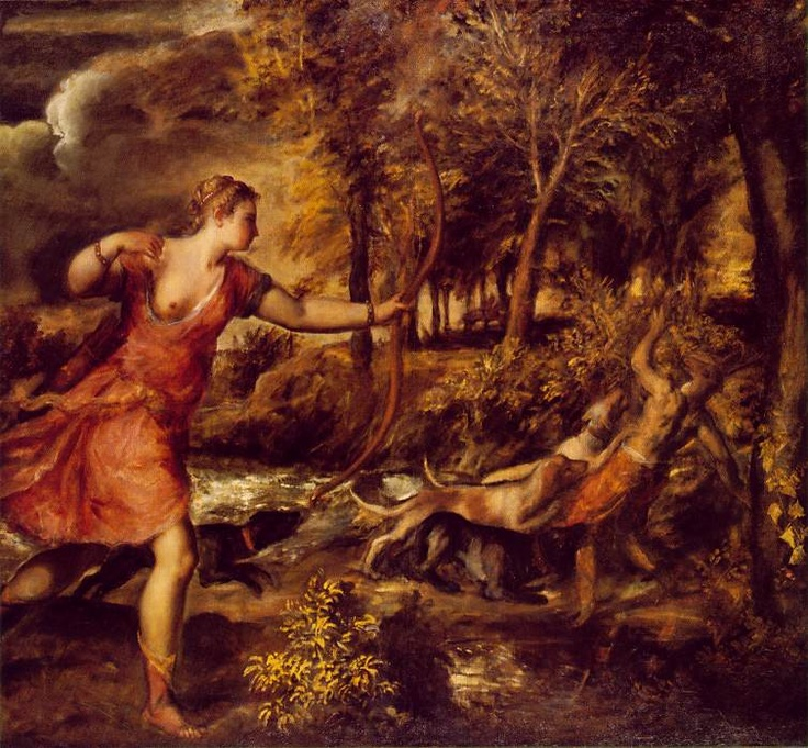 """""""The Death of Actaeon"""" is an unfinished work (note the missing bow string) by Titian, which was probably painted mostly in the mid-1560's.  The painting is inspired by the Greek legend of Actaeon, who was turned into a stag by Artemis and was torn apart by his own hounds.  (Let this be a lesson to peeping toms everywhere. If the object of your ardor just happens to be a rather feisty & independent goddess, make sure you leave the dogs at home. ~KC~)"""