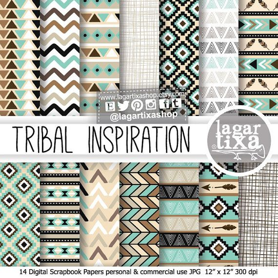 Tribal patterns digital paper turquoise black beige chevron american native aztec indian african arrow feather patterns backgrounds for blog