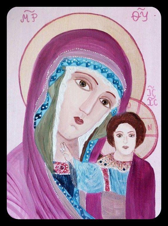 Obraz malowany wg Kazańskiej Ikony Matki Bożej