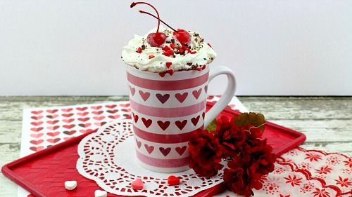 Chocolate Cherry Hot Cocoa- This chocolate cherry hot cocoa is easy to make, and so delicious! It'd make a lovely drink treat for Valentine's Day, Mother's Day, a birthday, or any day!   hot chocolate, drink recipe, hot drinks, Valentine's Day drink, Mother's Day drink, hearts, love, cherries