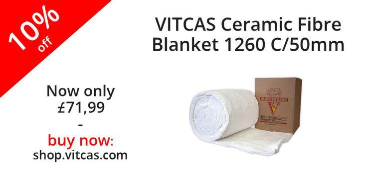 VITCAS Ceramic Fibre Blanket 1260 C/50mm now 10% off! Buy now: http://shop.vitcas.com/vitcas-ceramic-fibre-blanket-1260-c50mm-848-p.asp