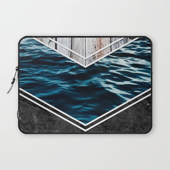 Striped Materials of Nature IV Laptop Sleeve #wood #wooden #marble #stone #sea #ocean #stripe #stripes #striped #nature #texture #laptop #sleeve