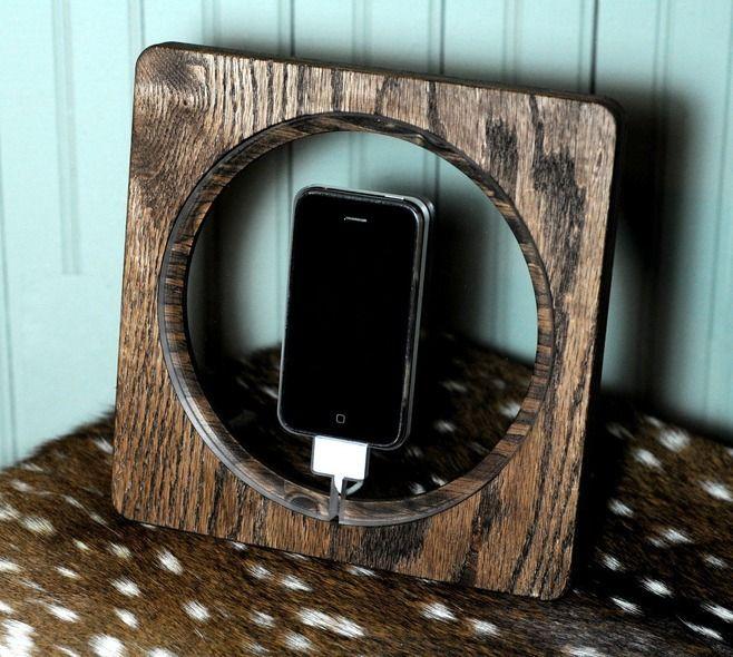 Truffol.com | Oak iPhone Charging Station. #tech #gadgets #iPhone #design