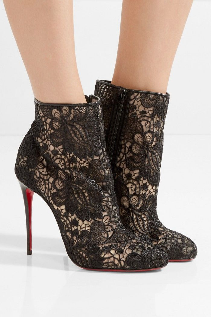 CHRISTIAN LOUBOUTIN Miss Tennis 100 guipure lace ankle boots | Buy ➜ https://shoespost.com/christian-louboutin-miss-tennis-100-guipure-lace-ankle-boots/