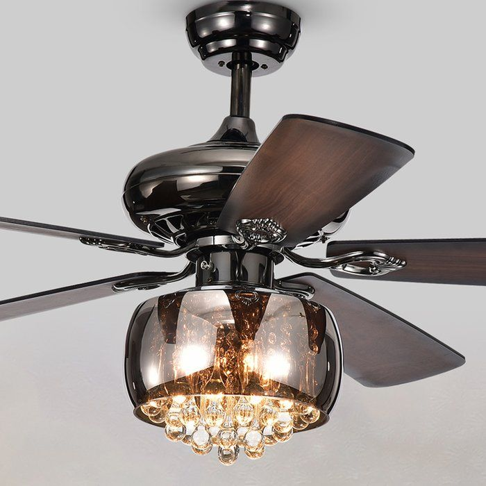 15 Lakey 5 Blade Crystal Ceiling Fan With Remote Control And Light Kit Included Black Ceiling Fan Ceiling Fan With Remote Ceiling Fan Chandelier