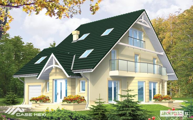 The one #storey #house with functional attic, without basement, intended for 4-5-family person. The ground floor is divided into zone with vestibule, utility room, toilet and study, and second - with spacious living room, open kitchen with dinette. In the building designed 2 stages of attic. First has 3 bedrooms, which one of them has own bathroom and wardrobe, and common bathroom. The last floor is spacious room with fireplace and bathroom.