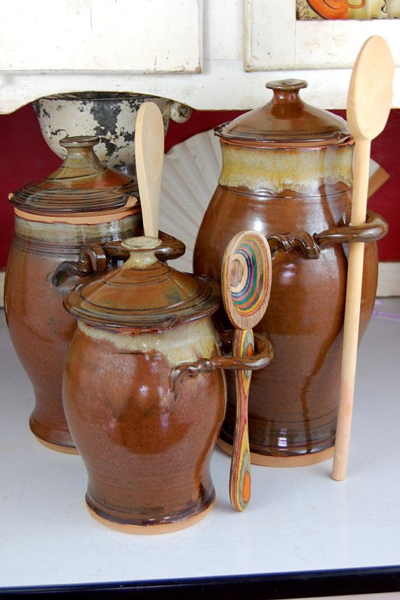 Kitchen Canister Set Of Three In Brownstone   Made To Order