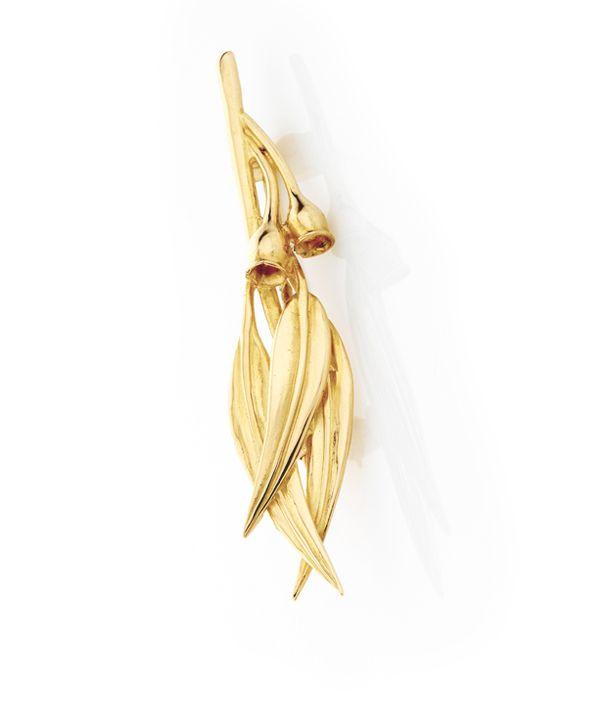 Gumleaf & Nut Brooch in 9ct yellow gold. $290