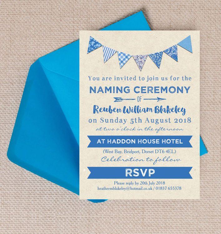 Blue Bunting Naming Ceremony Day Invitation 32