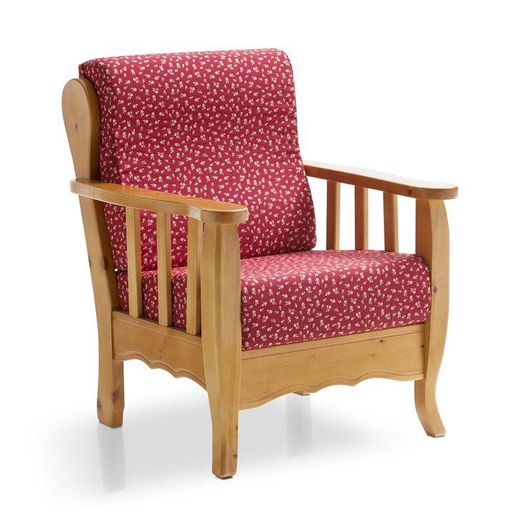 Poltrona in legno massiccio, con cuscini ergonomici sfoderabili. Collezione Demar Mobili pino. #divani #poltrone #salotti #mobilirustici #arredamenti #produzione www.demarmobili.it