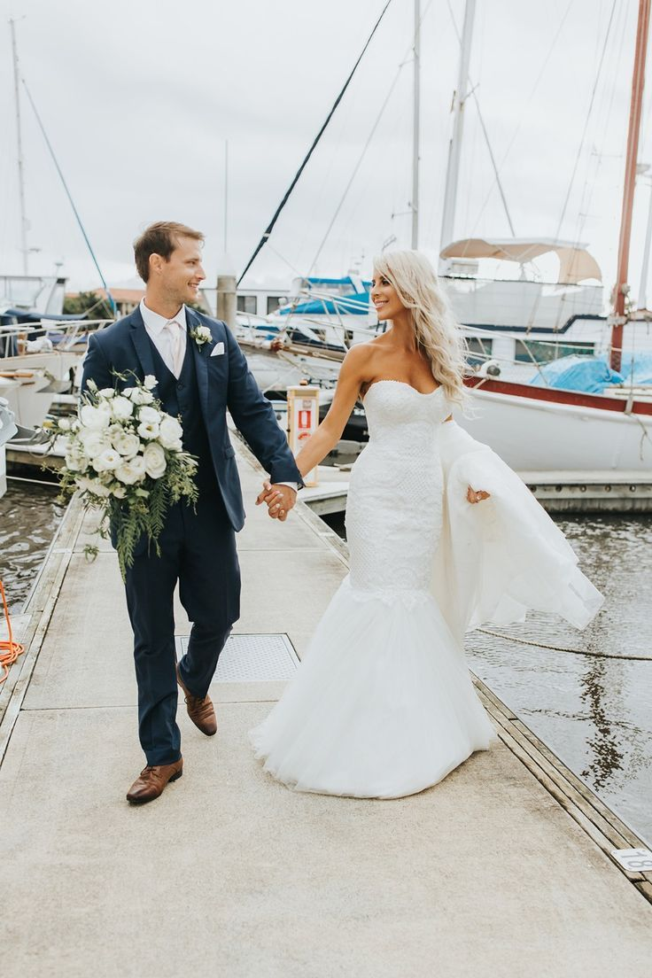 How To Have An All White Wedding On The Gold Coast All White Wedding Pretty Wedding Dresses Dock Wedding