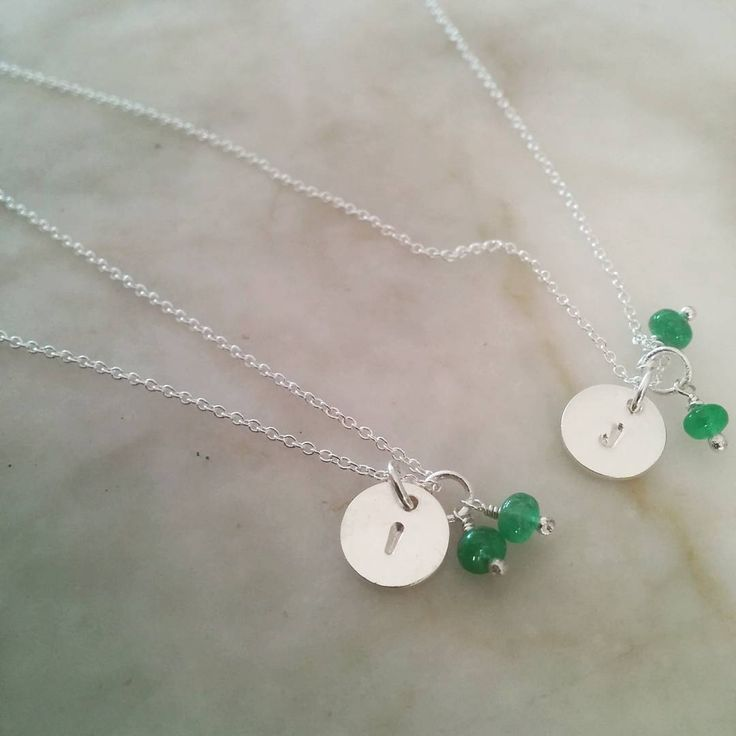 Personalised Disc Necklaces with emeralds