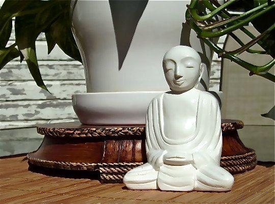 Meditating Flower Pot Buddha  Yin white Finish by YogaReflections, $12.50