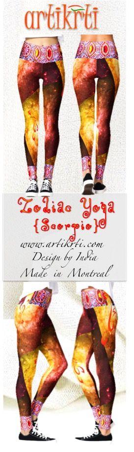 Yoga leggings for Scorpio Women. Zodiac sign leggings from Artikrti