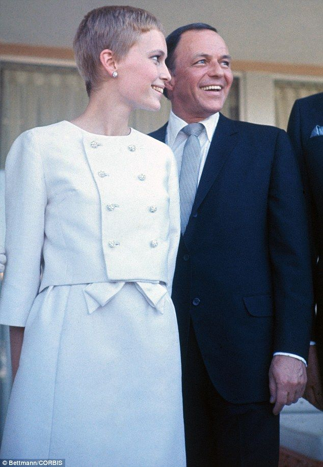 Wedding belle: Mia Farrow and Frank Sinatra outside the Sands Hotel in Las Vegas following their wedding in 1966     oh the young gal that mia was
