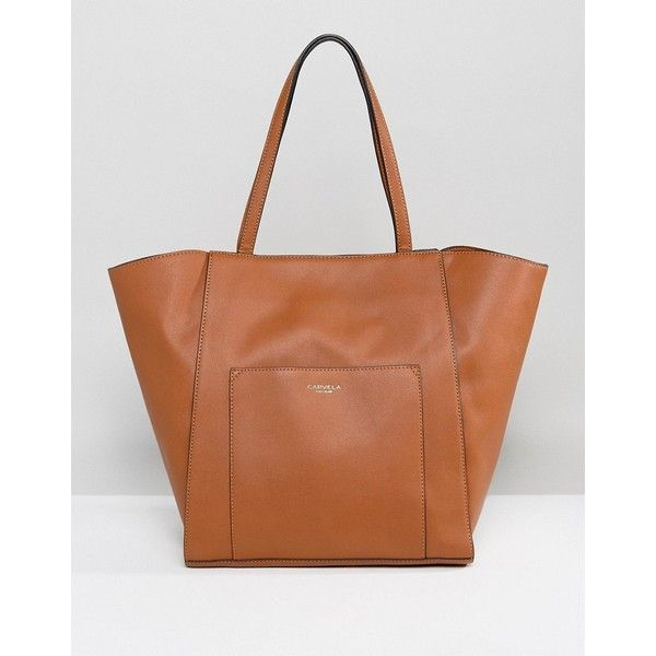 Carvela Raquel Tote ($84) ❤ liked on Polyvore featuring bags, handbags, tote bags, tan, leather tote purse, brown leather handbags, leather handbag tote, leather tote bag and tan leather purse