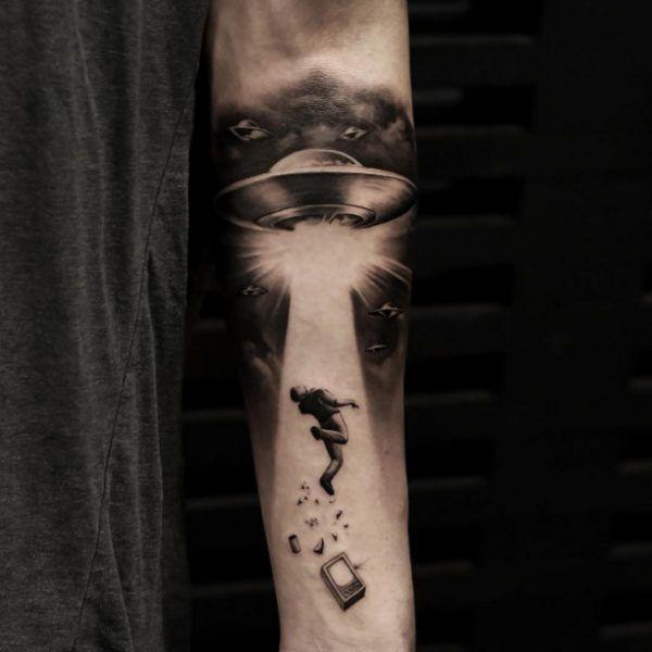 Ufo Forearm Tattoo  - http://tattootodesign.com/ufo-forearm-tattoo/  |  #Tattoo, #Tattooed, #Tattoos