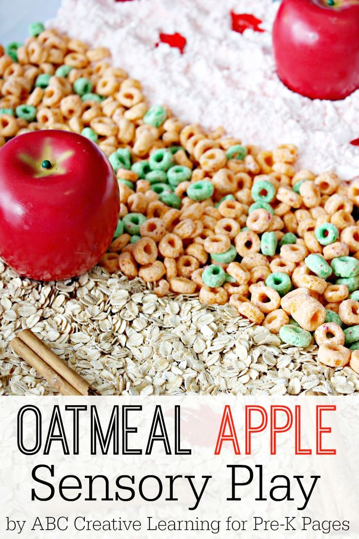 Oatmeal Apple Sensory Play for Preschool! Fun, hands-on sensory experience for learning and fun!