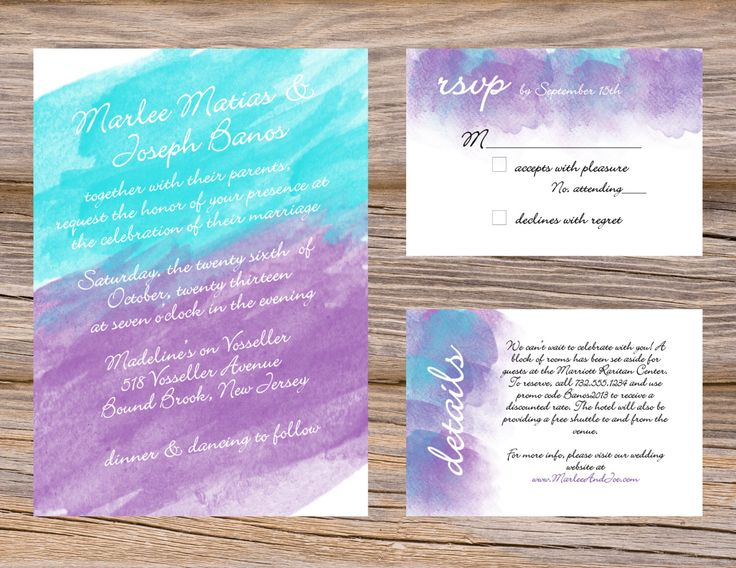 Watercolor Wedding Invitation Suite Purple Violet & Turquoise Includes Invitation RSVP and details insert card. Custom DIY Printable files by SugarQueens on Etsy https://www.etsy.com/listing/161418194/watercolor-wedding-invitation-suite