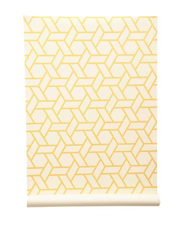 Yellow on white makes this cane pattern light and easy to live with. Paper. MANUEL CANOVAS THROUGH COWTAN & TOUT: 212-647-6900.   - HouseBeautiful.com