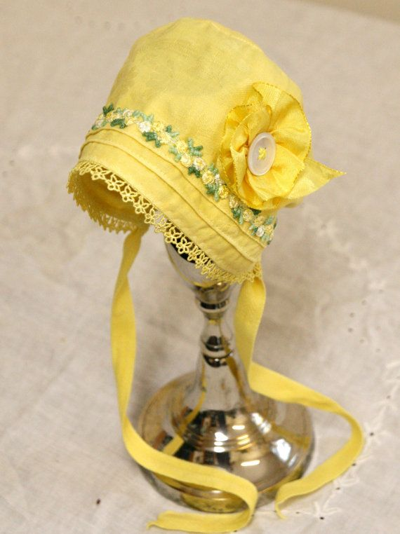 Little Sunshine Baby Bonnet --Vintage Linen, antique bonnet, newborn, baby hat, baby girl, vintage baby, summer baby, shower gift, cotton   $29