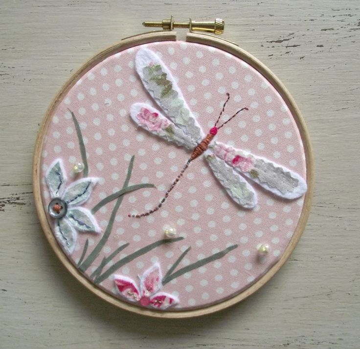 Dragonfly Hand Embroidered Hoop Art Picture In Pink - The Supermums Craft Fair