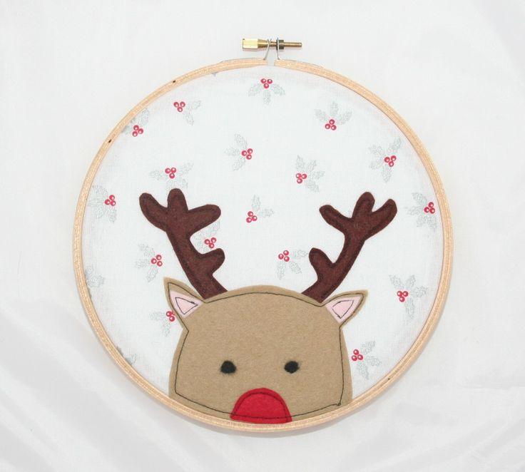 Rudolph the Red Nosey Reindeer Hoop Art - The Supermums Craft Fair