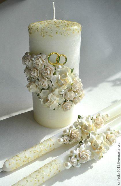 Свадебные аксессуары ручной работы. Ярмарка Мастеров - ручная работа. Купить Свечи семейный очаг с белыми розами и кольцами. Handmade.