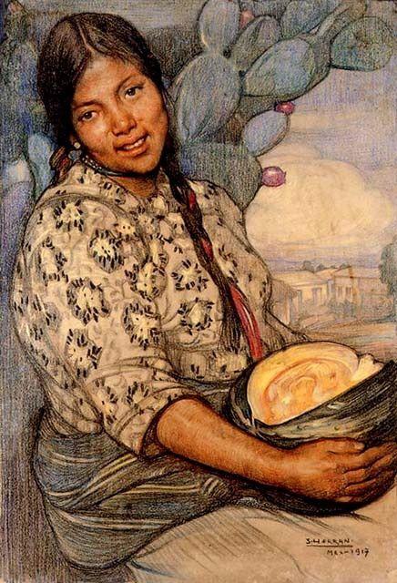 Saturnino Herran, Mujer con calabaza, 1917, Mexico.