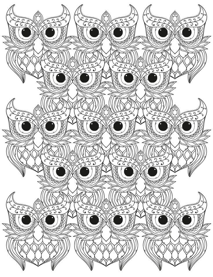 Les 43 meilleures images du tableau coloriages de hiboux - Dessin mosaique a imprimer ...
