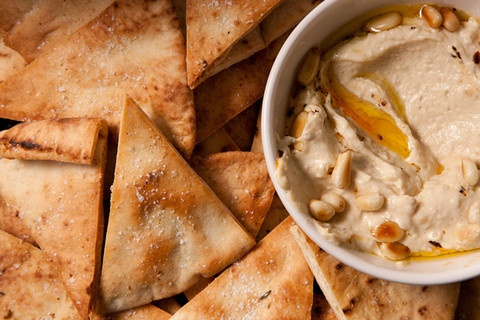 Baked Pita Chip Recipe-- no sugar if you get the right kind of pita.
