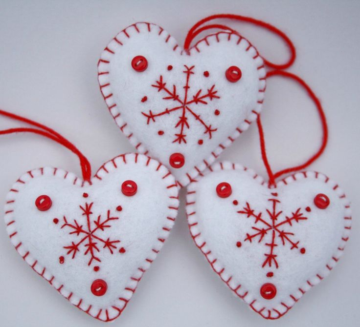 Felt Heart decorations. Embroidered Snowflake Christmas ornaments.