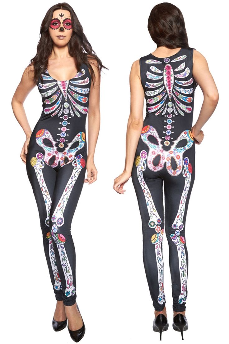 Get your fiesta on in the Sugar Skull Adult Womens Halloween Catsuit Costume. Celebrate Day of the Dead and Halloween in this sleek, black catsuit with colorful skull body design, it's to make you look unique and different from all around.    Please check the size chart in the pictures for measurements. Thanks   Shop this product here: spree.to/b8fm   Shop all of our products at http://spreesy.com/SexyHeksieLingerie      Pinterest selling powered by Spreesy.com