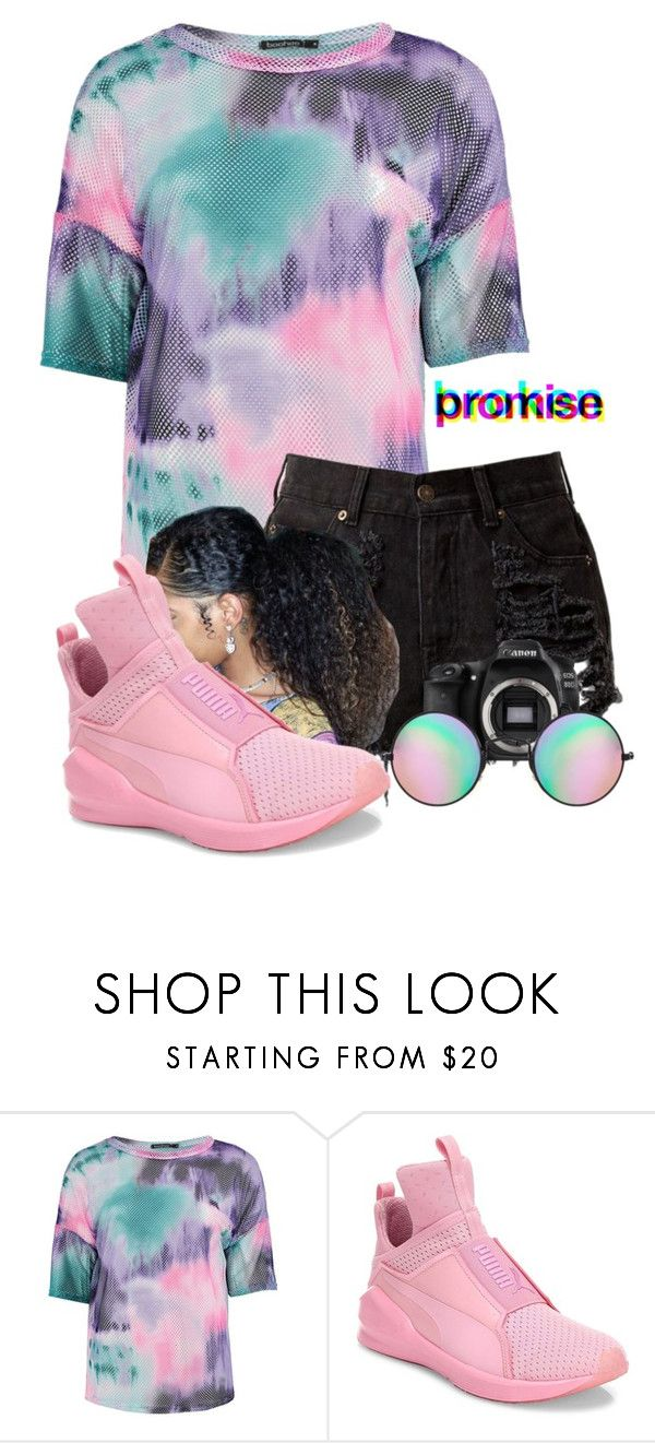 """""""Vibes """" by therealporshamarie ❤ liked on Polyvore featuring Boohoo, Puma, Eos and Reclaimed Vintage"""