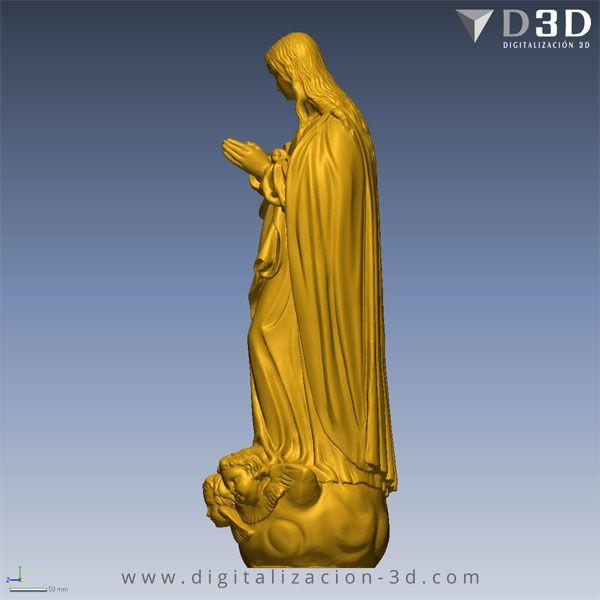 Vista lateral izquierda del modelo 3d de la Virgen Inmaculada