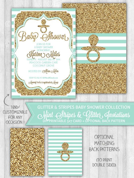 Baby Shower Invitation, Mint & Gold Glitter Baby Shower Invitation, Baby Shower Stripes Teal Turquoise: DIGITAL PRINTABLE FILE