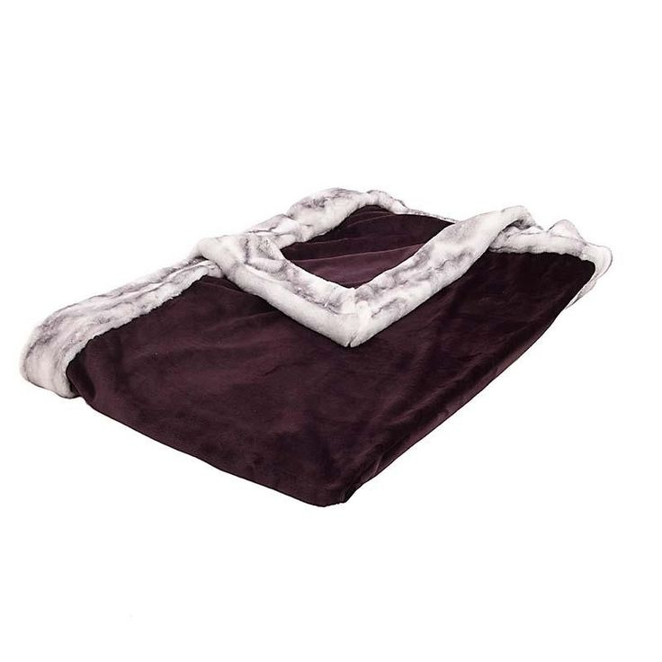 SYNTHETIC FUR THROW IN PURPLE-GREY COLOR 150X180 - Furs - FABRIC ITEMS