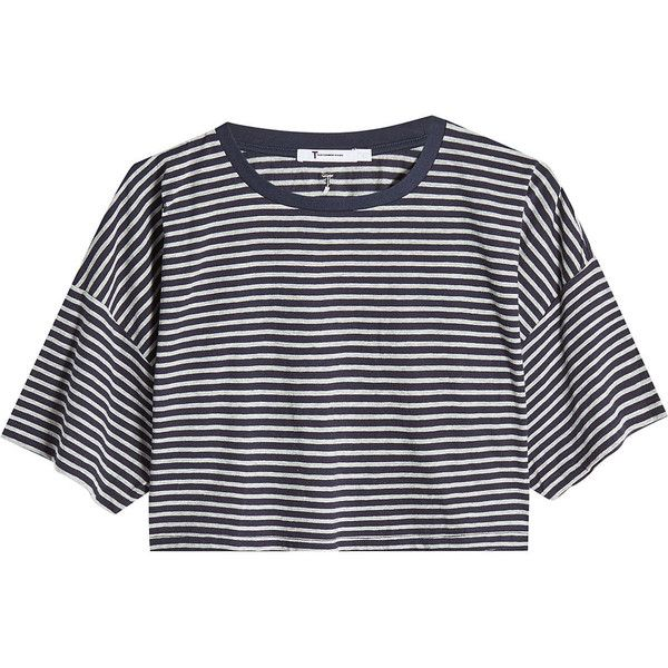 T by Alexander Wang Cropped Cotton T-Shirt ($160) ❤ liked on Polyvore featuring tops, t-shirts, stripes, blue tee, boxy crop top, striped tee, stripe tee and short sleeve t shirt