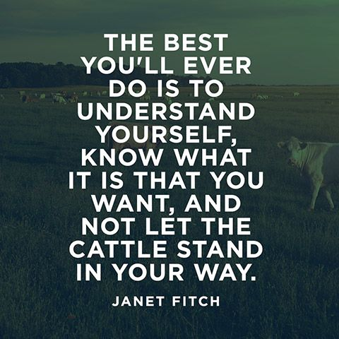 The best you'll ever do is to understand yourself, know what it is that you want, and not let the cattle stand in your way. — Janet Fitch